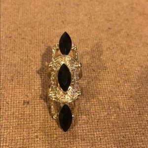 Beautiful Gold Double Ring w/ Black Gems